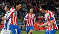 Falcao celebra el gol de la victoria ante el Espanyol