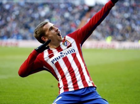 Griezmann celebra su gol en el Bernabéu