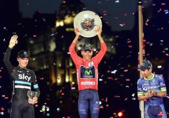 Quintana, Froome y Chaves en el podio de Madrid
